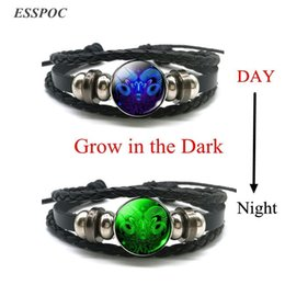 gemini bracelets NZ - Aries Gemini Leo Libra Scorpio 12 Constellation Luminous Bracelet Leather Bracelet Zodiac Sign Jewelry for Men Women
