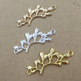 $enCountryForm.capitalKeyWord Australia - 50pcs 38*16mm Gold Silver tree branch connector charm metal pendants Alloy DIY Jewelry Accessories Headwear Hair Jewelry Handicraft Material