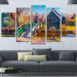 paintings bridges UK - 5 Piece Canvas Poster Modern Home Decor Print Painting Wall Artwork Wooden Bridge Stream Cabin Modular Picture For Living Room