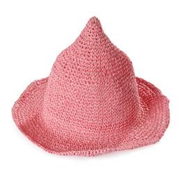 Chinese  Wh Girls Straw Hat Children Sun outdoor summer Spring Baby kids Beach straw Caps Hand-woven Witch Spiky Sunscreen Visor Rrass Braid Hat manufacturers