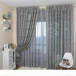 fixing blinds Canada - 1pcs 100x 270cm Leaf Style Design Jacquard Blackout Curtain Blind for Window Living Room Home Decoration