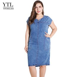 $enCountryForm.capitalKeyWord NZ - YTL Summer ladies Plus Size denim dress for women clothes Round Neck Pockets elegant 4xl 5xl 6xl 7xl Thin party Dress Z25 T5190613