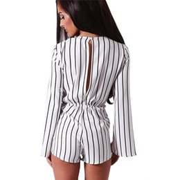 Jumpsuit Long Cape Australia - Fashion casual Black White Stripe rompers womens short jumpsuit sexy Long Sleeve Chiffon Cape Romper one piece bodysuits