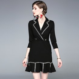 Work Suit For Women Australia - Women Designer Dress New Elegent Work Suits for Lady with Ruffled Collar Trumpet Midi Above Knee Lady's Designer Dresses for Working Casual