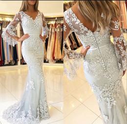 $enCountryForm.capitalKeyWord Australia - 2019 V Neck Flare 1 2 Long Sleeves Lace Mermaid Prom Dresses Tulle Applique Floor Length Formal Party Evening Dresses