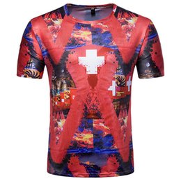 China Swiss fans' short-sleeved T-shirt men's summer dress fashion beach t-shirt quick-drying sweat-absorbent easy to clean men's clothing men's s supplier fan print dress suppliers