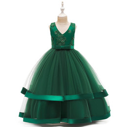 Kids girls long evening gowns online shopping - Girls dresses for wedding lace flower girl dresses long kids dresses kids evening dress party princess dress teenage girls clothing A10203