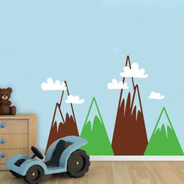 Large Wall Decor Australia - Triangle Mountains Wall Art Decal For Kids Room , Large Size Mountains With Clouds Vinyl Wallpaper Wall Sticker Nursery Decor