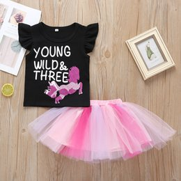 $enCountryForm.capitalKeyWord Australia - Girls Letter Top+Tutu Skirts Outfits Summer 2019 Kids Boutique Clothing 1-5T Little Girls Ruffle Sleeves T-Shirt Gauze Skirts 2 PC Set