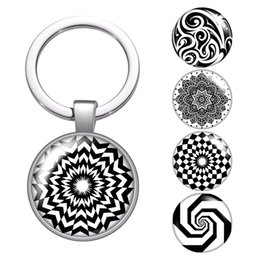 wholesale car lining Australia - Black patterns Abstract lines glass cabochon keychain Bag Car key chain Ring Holder Charms silver keychains for Men Women Gifts