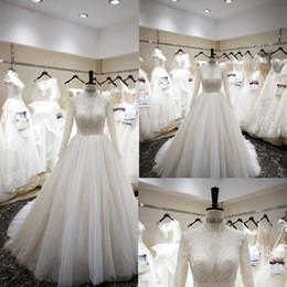 $enCountryForm.capitalKeyWord Australia - Muslim New 2019 Princess Wedding Dresses Turkey White Luxurious Beading Pearls HIgh Neck Long Sleeve Elegant Bride Gowns Plus Size