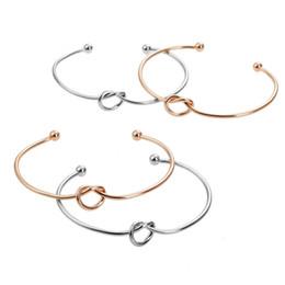 $enCountryForm.capitalKeyWord Australia - Free DHL 201907 Charm Knot Heart Bracelet 4 Colors Simple Bracelets Adjustable Open Cuff Bangle Women Girls Bridesmaid Jewelry Gift H997F