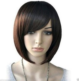 straight bangs wig UK - WIG NEW STYLE Free Shipping >>>>>>New Womens' Inclined Bangs Short Straight Full Wigs BOBO Cosplay Party Hot Sell