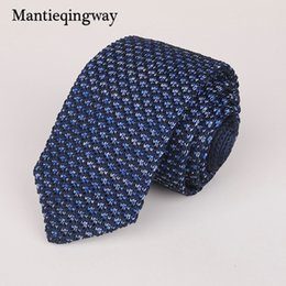 mens knitted skinny ties 2019 - Mantieqingway 6cm Knit Knitted Ties for Mens Business Suit Necktie Solid Color Skinny Men's Woven Gravatas Slim Cra