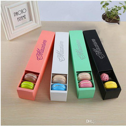 Wholesale Boxes Packaging Australia - New Macaron Box Cake Boxes Home Made Macaron Chocolate Boxes Biscuit Muffin Box Retail Paper Packaging 20.3*5.3*5.3cm