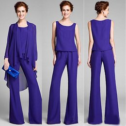 Bridal Suits Australia - Three Pieces Mother of the Bride Pant Suits Long Chiffon Formal Mother of the Bridal Dresses Long Sleeve Mothers Groom Dresses