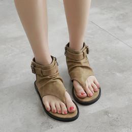 $enCountryForm.capitalKeyWord Australia - Vintage Flat Sandals Women Summer Shoes Roman Fashion Sandals Shoes Women Flat T-tied Back Strap Slippers Flip Flops Zip