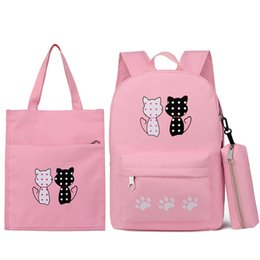 $enCountryForm.capitalKeyWord Australia - 2019 New Cartoon Children School Bags 3pcs set Cute Cat Printing Kids Backpacks Comfort Light Canvas Backpack Girls School Bags