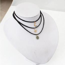 $enCountryForm.capitalKeyWord Australia - Small Cute Sun Moon Star 3PCS SET Bar Choker Necklaces Sets Black Velvet Short Chokers Neckless For Women Jewelery Collier