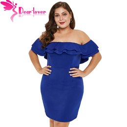 410188fc04 Dear Lover Summer Sexy Plus Size 5XL Bodycon Party Dress Blue Black Layered  Ruffle Off Shoulder Plus Size Dress LC220546