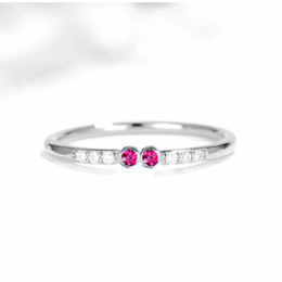 Ruby Charms Australia - Unique Solid 14k White Gold Ring for Women SI Natural Diamonds Ruby Engagement Wedding Ring Fine Jewelry Trendy Charming