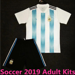 Wholesale 2018 Copa America Argentina Adult Kits Soccer Jersey Home MESSI Soccer Shirt DYBALA MARADONA AGUERO HIGUAIN football Uniform