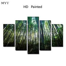 Discount bamboo painted wall rooms - Modern painting Clear Green bamboo scenery High Quality HD Printed 5 Pieces Canvas Wall Art pictures for living room Hom