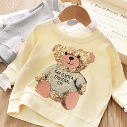 $enCountryForm.capitalKeyWord NZ - Cute Girls Bear Lace Collar Sweatshirt Tops Fall 2019 Kids Boutique Clothing 2-7T Little Girls Long Sleeves Tops High Quality