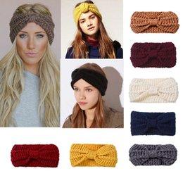 thick headbands 2019 - Lady Cozy Thick Knit Headband Turban Ear Warmer For Women Winter Headband Bow Stretch Hairband Headwrap Hair Accessories