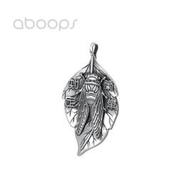 $enCountryForm.capitalKeyWord UK - Vintage 925 Sterling Silver Leaf Pendant with Cicada for Men Women Free Shipping