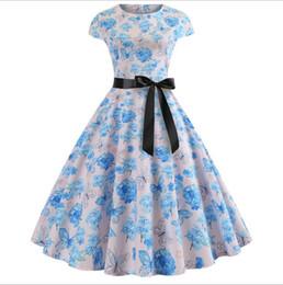 $enCountryForm.capitalKeyWord NZ - Designer Women's Evening Dress Print Dress Casual Dress Girl Princess Dresses Belt Waist New Retro Short Sleeve Hepburn Wind 8 Color skirt