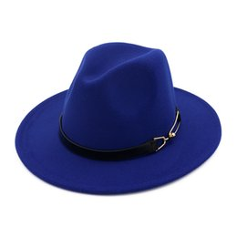 wide brimmed felt hat Australia - Fashion-European US men women wool felt fedora hats with Belt Buckle unisex Wide Brim Jazz hat Autumn Winter panama Cap Trilby Chapeau