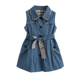 designs girls shirts new Australia - New high quality children's clothing spring and autumn sleeveless lapel windbreaker girls fashion shirt long paragraph simple design belt 2
