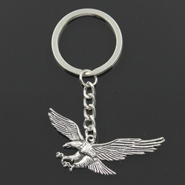 metal eagle Australia - Fashion 30mm Key Ring Metal Key Chain Keychain Jewelry Antique Silver Plated hawk eagle 28x50mm Pendant