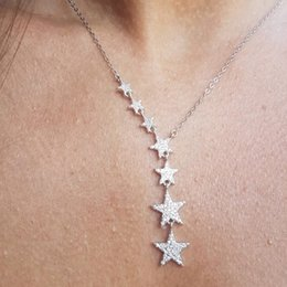 cz chains Australia - 7 Pcs Star Charm Link Chain Statement Women Fashion Jewelry 2018 Christmas Gift Cz Cluster Elegance Sparking Star Necklaces GMX190711