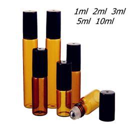 Balls Test Australia - 50pcs lot 1ml 2ml 3ml 5ml 10ml Amber Thin Glass Roll on Bottle Sample Test Essential Oil Vials with Roller Metal  Glass Ball
