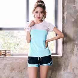 $enCountryForm.capitalKeyWord Australia - Women Mesh Patchwork 2pcs Running Sets Breathable Sexy T-shirts Shorts 2pcs Fitness Yoga Gym Activewear Quick Dry Sports Suits