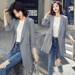 designer slim fit casual suit Australia - Designer Fashion Stitching New Spring Slim fit Small Suit Jacket Women's Korean Casual Retro Suit Collar Stripes Thin Personality Coat