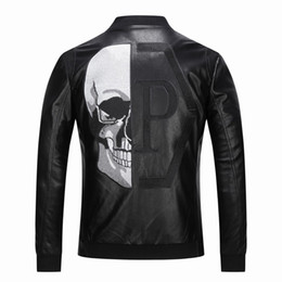 Wholesale men faux coat for sale - Group buy 2019 High Quality Outerwear Men s Leather Jackets Skull Patterned spring Winter Biker Motorcycle Faux Leather PU Coat For Male