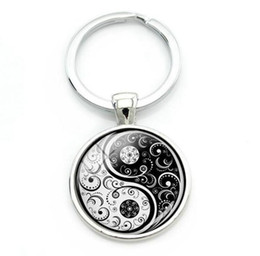 Discount signs for cars - China Yin Yang Keychain Glass Cabochon Key Chain Best Friends Key Chain For Keys Car Bag TaiChi Sign Key Rings Jewelry B