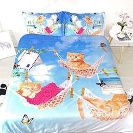white blue bedding NZ - Girls Cat Bedding Sets Twin Sky Blue Duvet Cover King Bedspreads Queen Size Pink And White NO Comforter Pillowshams 3pc