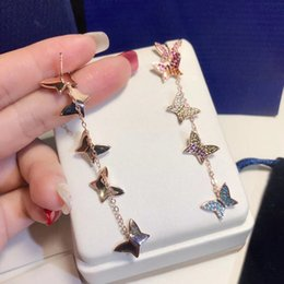 $enCountryForm.capitalKeyWord Australia - Hot Sale New Fashion Colorful Rhinestone Dangle Full diamond Butterfly Bow Stud Earrings for Women brand designer jewelry for women
