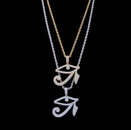 Discount micro diamonds - 14K GOLD ICED OUT THE EYES OF HORUS PENDANT NECKLACE MENS GIFTS HIP HOP Micro Pave Cubic Zirconia Simulated Diamonds Nec