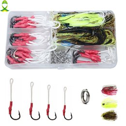 $enCountryForm.capitalKeyWord Australia - Cheap Tackle Boxes JSM 100pcs box stainless steel fish hooks with PE line split ring silicone jig skirts spinnerbait for fishing