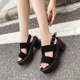 black blocks NZ - Ankle Strap Summer Shoes Women Sexy chunky sandals Platform Shoes Block Heels Female Black Sandals punk summer shoes YMA838