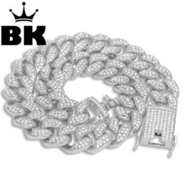Cuban Necklaces Australia - Mens Hip Hop Gold Color Iced Out Crystal Miami Cuban Chain Gold Silver 18inch To 24inch Necklace Hot Selling The Hip Hop King J190620