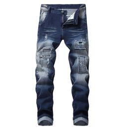 Wholesale Jeans Slim UK - 2019 DHL Men's Skinny Slim Fit Stretch Straight Leg Fashion Jeans Pants fit Biker Jeans with Zipper Deco