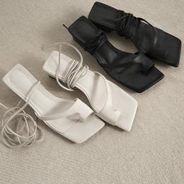 $enCountryForm.capitalKeyWord Australia - Genuine leather Bandage Square Sandals Women White Black Strap Low Heel Cow Leather Summer Shoes Classic Gladiator Block Heel 4sad