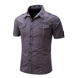 d91523f2d 2019 New Arrive Mens Cargo Shirt Men Casual Shirt Solid Grey Shirts Multi  Pocket Work Shirt Plus Size 100% Cotton Outdoor T-shirt