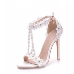 Shoes Women High Heel White Australia - Women Sandals White Lace Flowers Pearl Tassel Bridal Super Heel Fine High Heels Slender Bridal Shoes Wedding Shoes